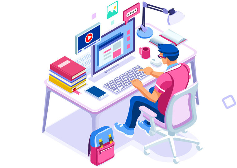 cartoon student at desk on computer on discussion board