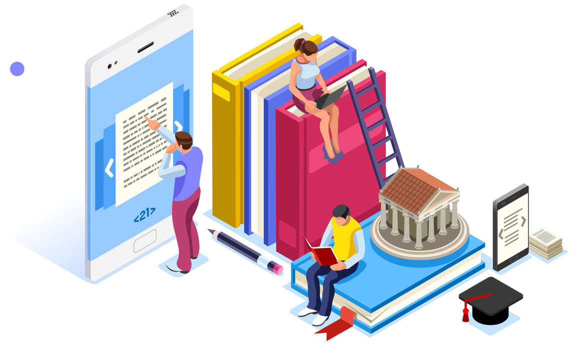 Cartoon students sitting on giant books, reading, and using a tablet