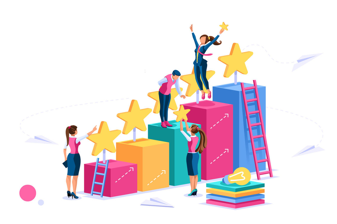Cartoon students climbing up platforms with stars