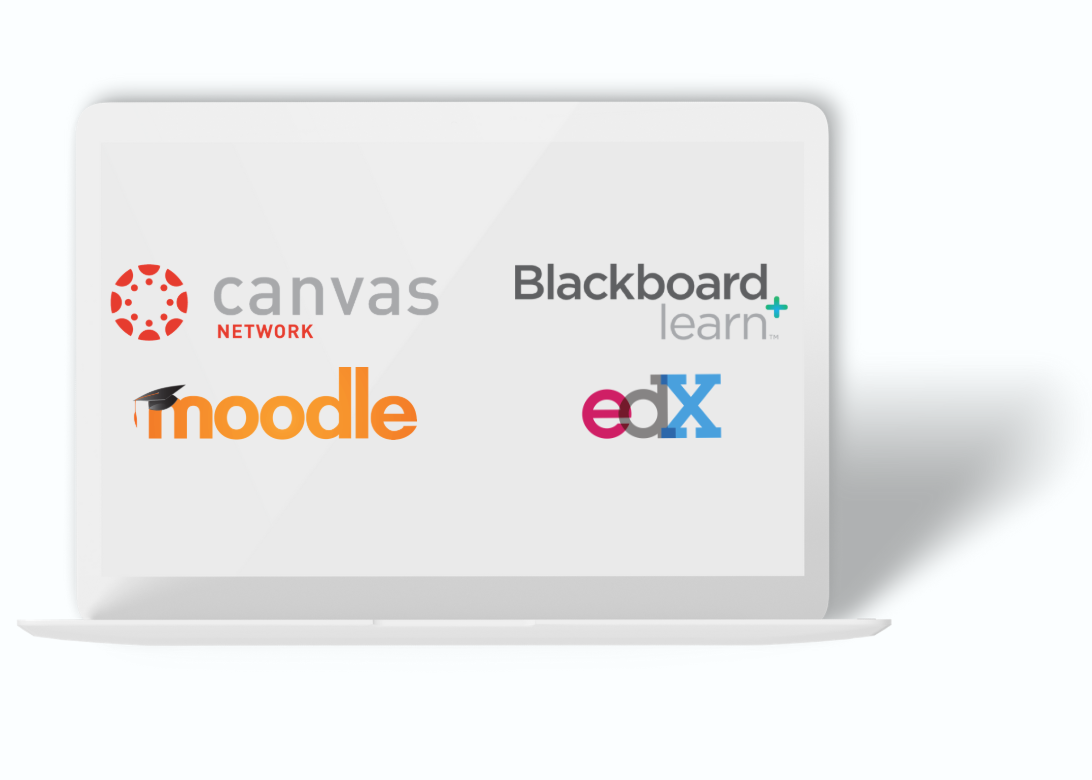 Logos for Canvas network, Blackboard learn, Moodle, and edX